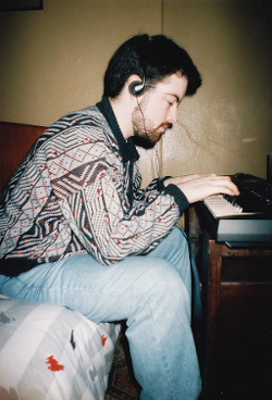 Tim Wright in the early 1990s while working on Shadow of the Beast III at his flat in Oxton